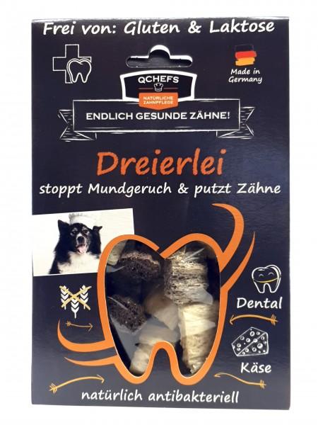 QCHEFS Dreierlei Zahnpflege für Hunde gesund und natürlich mit Hüttenkäse 65g