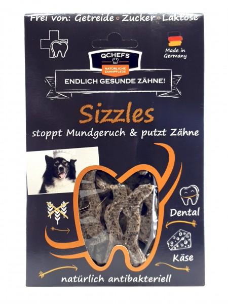 QCHEFS Sizzles Kauschlangen Zahnpflege für Hunde mit Hüttenkäse 65g