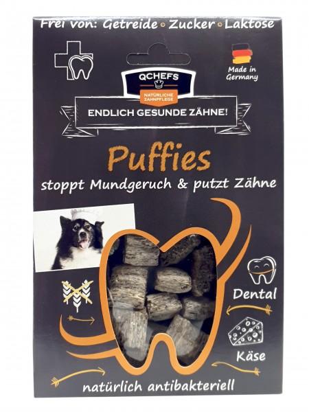 QCHEFS Puffies Snacks für Hunde für die natürliche Zahnpflege mit Hüttenkäse 65g